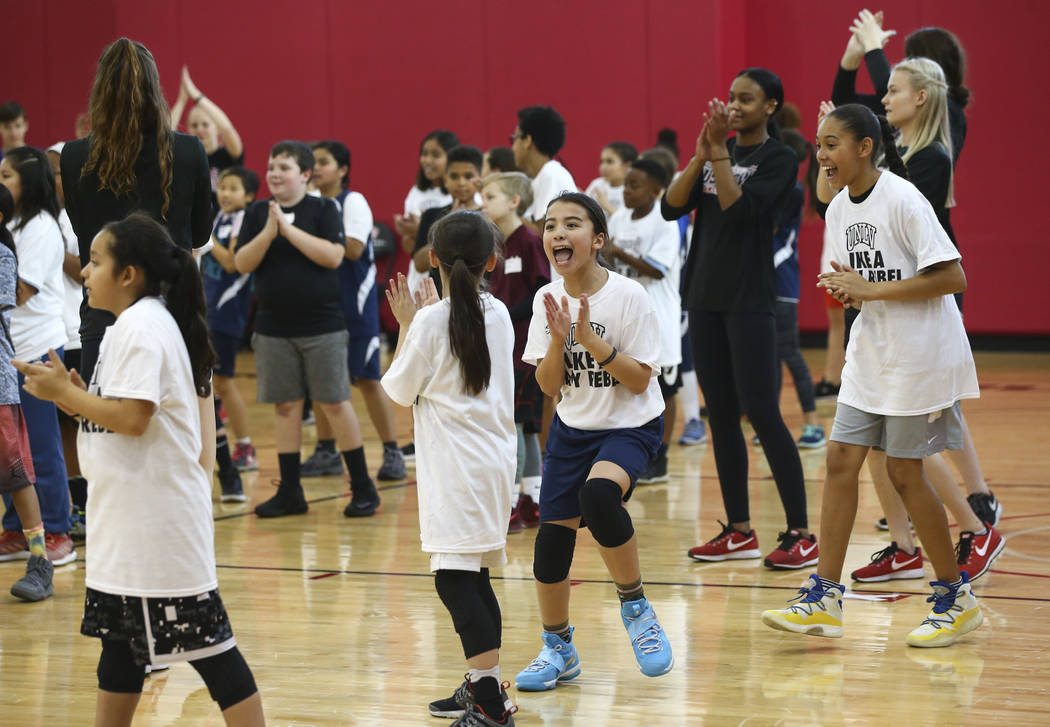 After-School All-Stars students from local middle schools participate in sports clinics led by UNLV student-athletes at Mendenhall Center at UNLV in Las Vegas on Saturday, Feb. 3, 2018. The event  ...