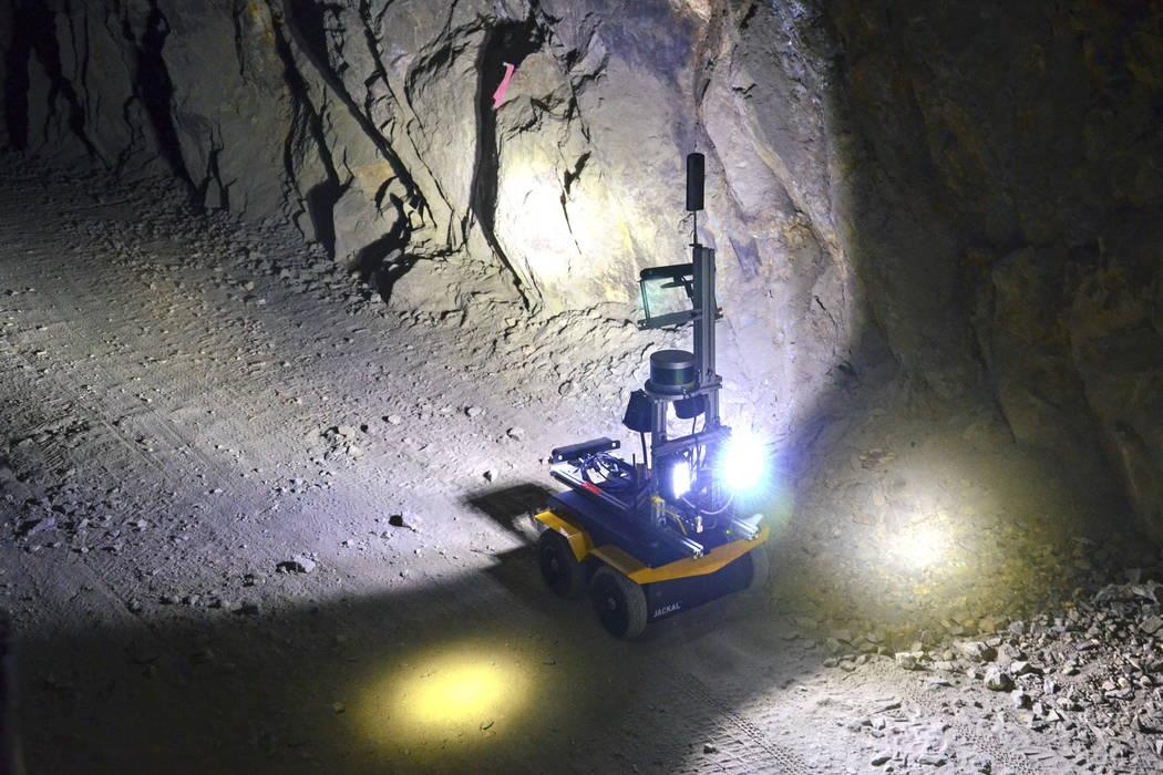 A robot rolls through an underground mine at the Edgar Mine set of Denver in December 2017. (AP Photo/Tatiana Flowers)