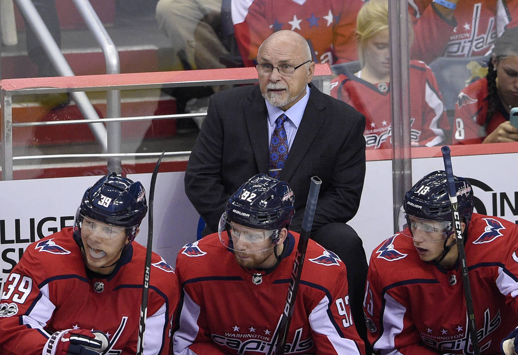"FILE - In this Oct. 7, 2017, file photo, Washington Capitals coach Barry Trotz watches during the third period of the team's NHL hockey game against the Montreal Canadiens in Washington. ""I ..."