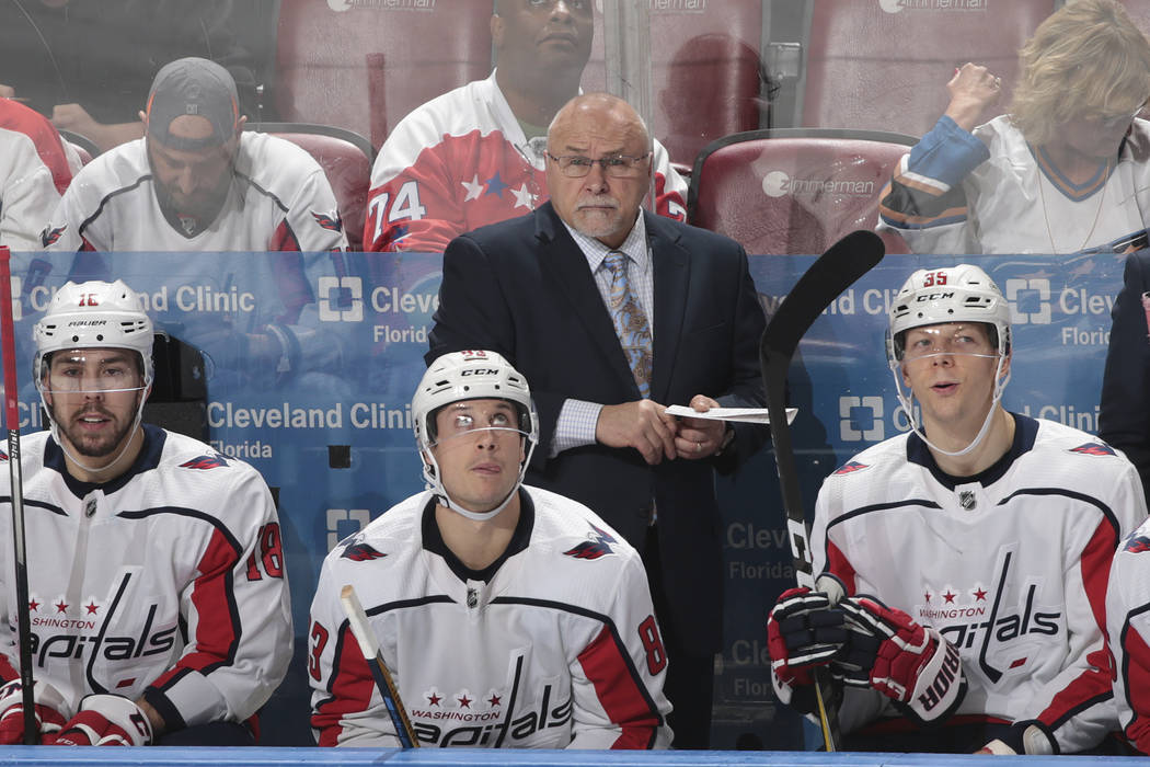 Washington Capitals head coach Barry Trotz looks on during the third period of an NHL hockey game against the Florida Panthers, Thursday, Jan. 25, 2018, in Sunrise, Fla. The Capitals defeated ...