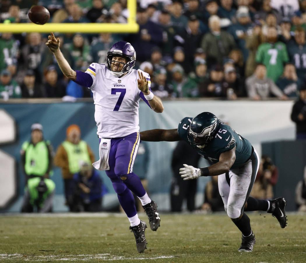 Philadelphia Eagles' Vinny Curry pressures Minnesota Vikings' Case Keenum during the second half of the NFL football NFC championship game Sunday, Jan. 21, 2018, in Philadelphia. (AP Photo/Patrick ...
