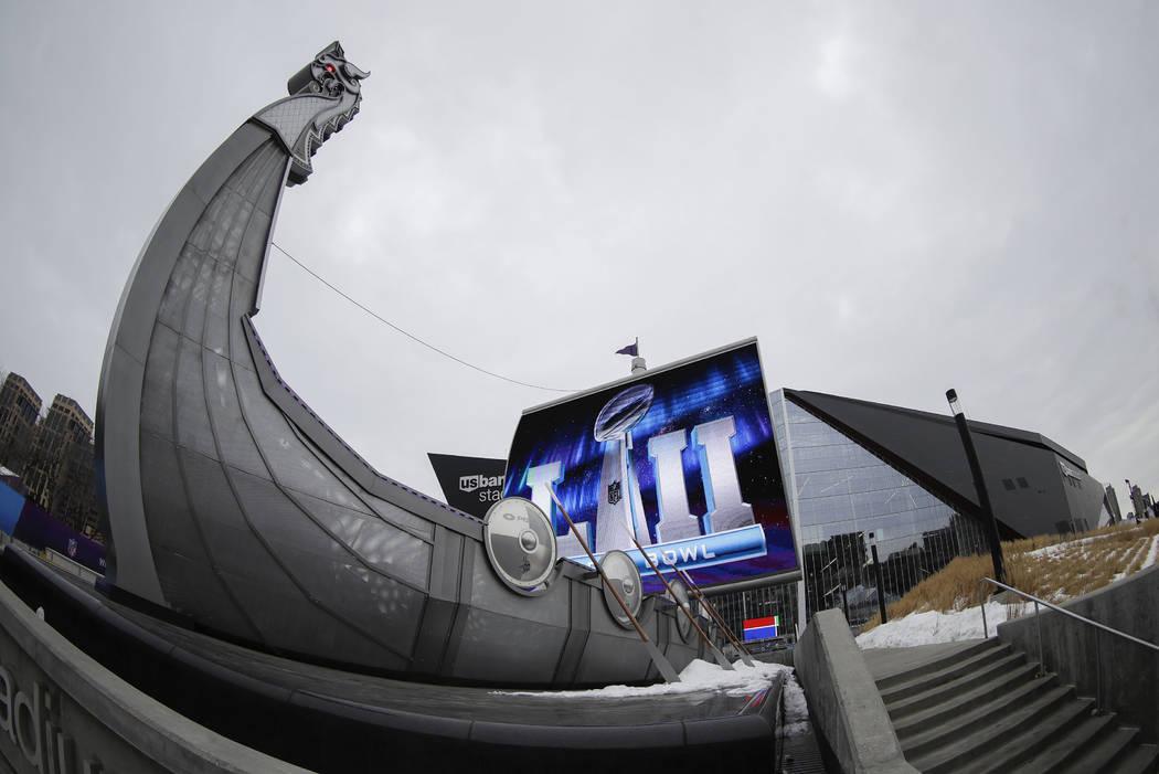 U.S. Bank Stadium is seen Tuesday, Jan. 30, 2018, in Minneapolis. The NFL Super Bowl 52 football game will be played Sunday, Feb. 4, 2018. (AP Photo/Matt Slocum)