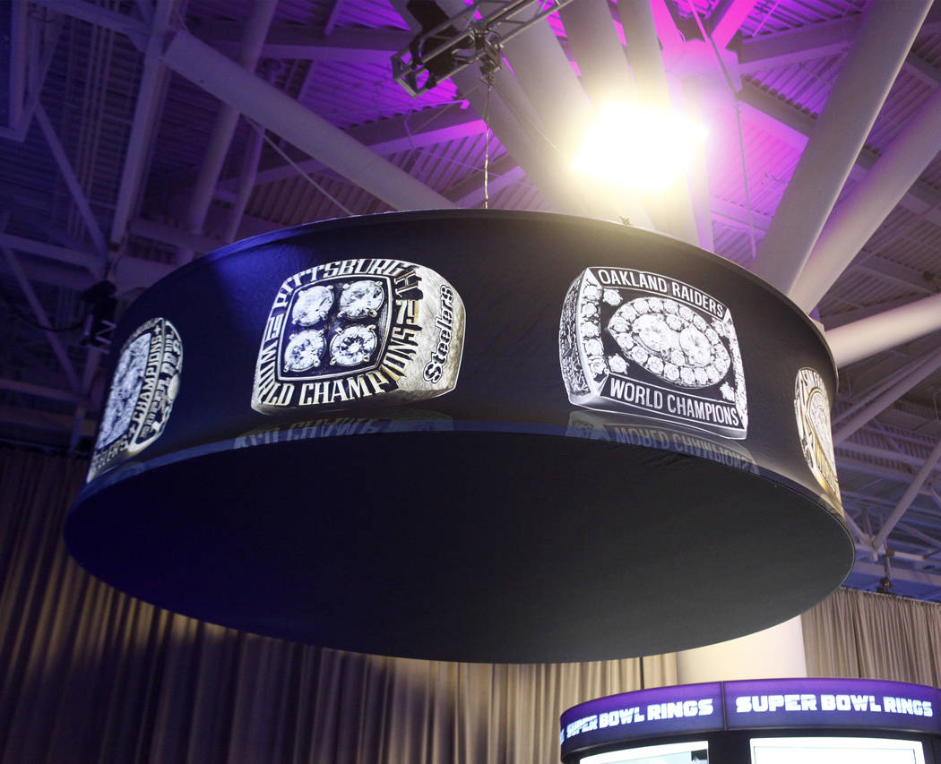 The Oakland Raiders Super Bowl XV ring, right, at the NFL Experience at the Minneapolis Convention Center in Minneapolis, Minn., Friday, Feb. 2, 2018. Heidi Fang Las Vegas Review-Journal @HeidiFang