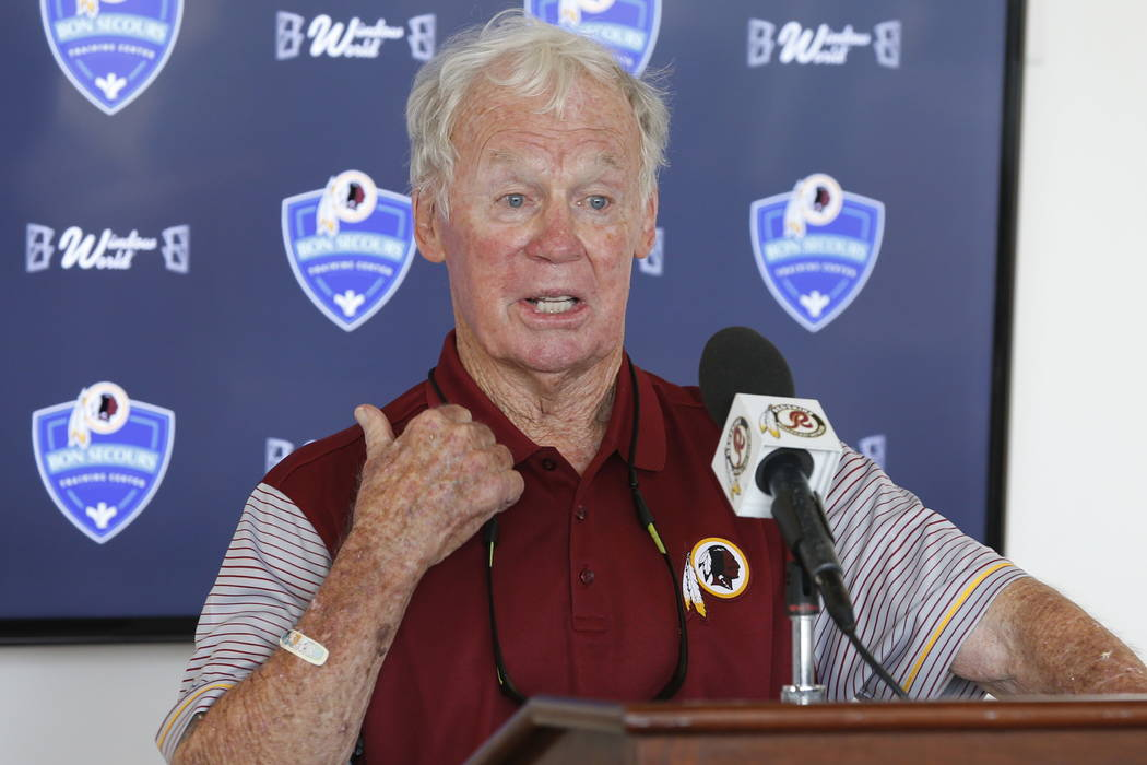 Former Washington Redskins general manager Bobby Beathard gestures during a press conference at the Redskins NFL football training camp in Richmond, Va., in 2016.  (AP Photo/Steve Helber, File)