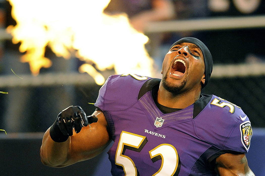 Baltimore Ravens linebacker Ray Lewis reacts as he is introduced before an NFL preseason football game against the Detroit Lions in Baltimore in 2012. (AP Photo/Nick Wass, File)