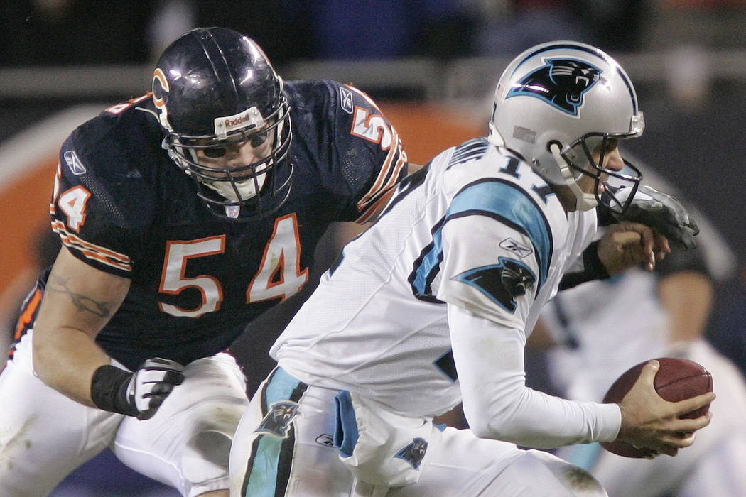 Chicago Bears' linebacker Brian Urlacher (54) attempts to sack Carolina Panthers' quarterback Jake Delhomme (17) in the third quarter of their NFC divisional playoff football game in Chicago in 20 ...