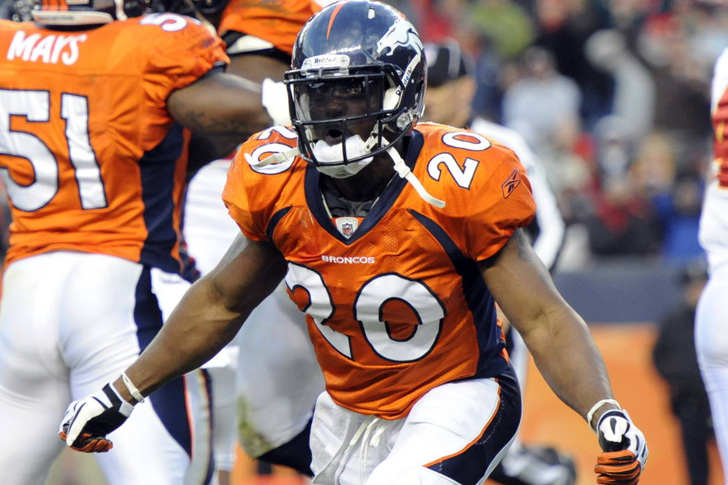 Denver Broncos safety Brian Dawkins celebrates a goal line stand against the Kansas City Chiefs during an NFL football game in Denver in 2010. (AP Photo/Jack Dempsey, File)