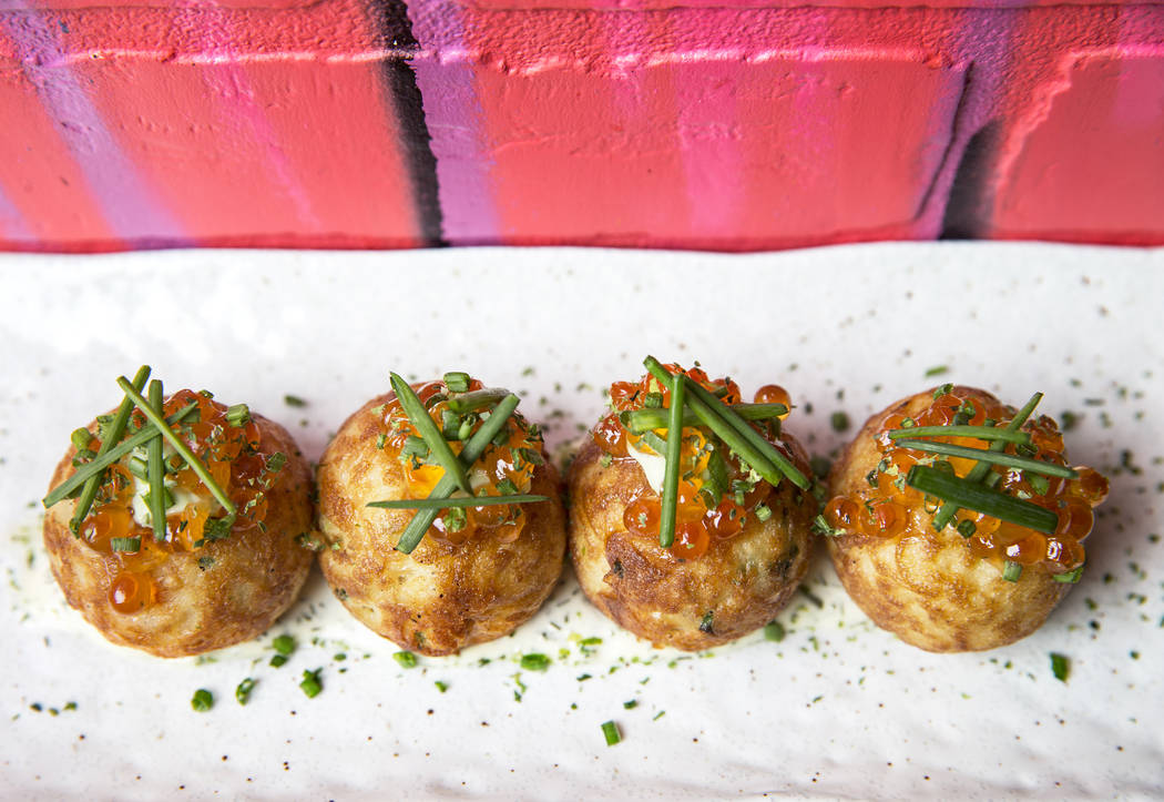 Smoked salmon takoyaki at Paid in Full on Friday, February 9, 2018, in Las Vegas. Benjamin Hager Las Vegas Review-Journal @benjaminhphoto