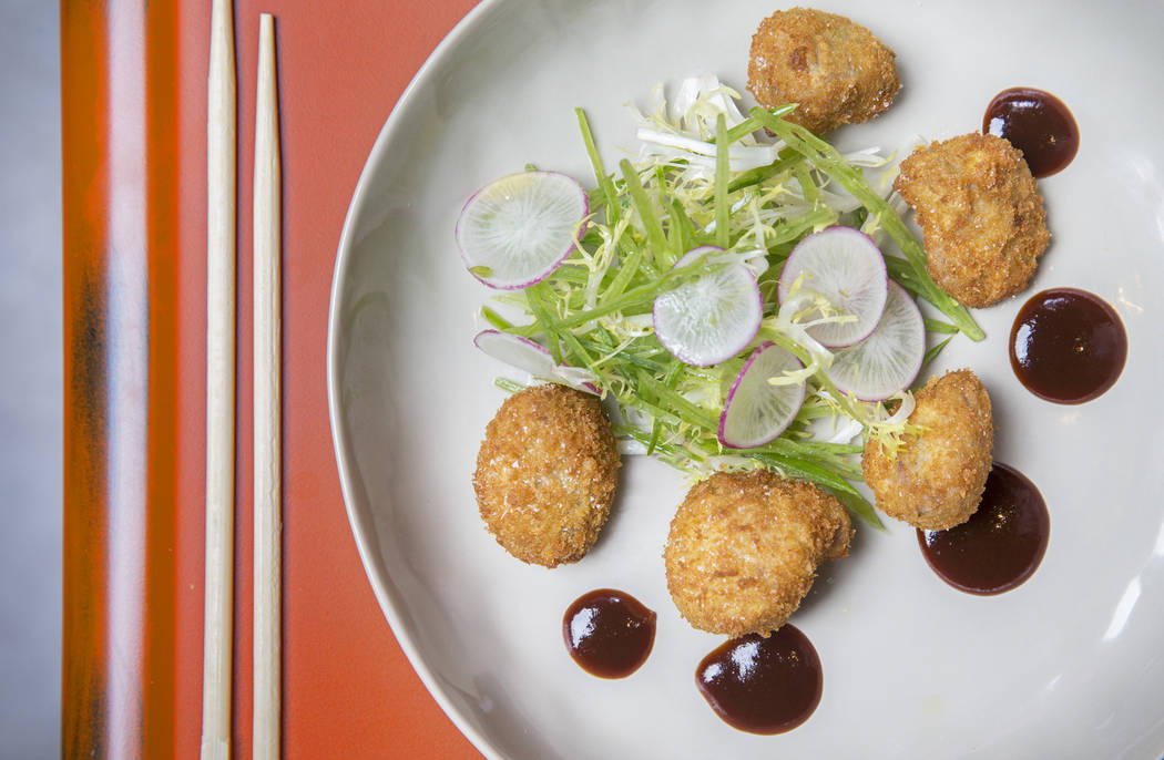 Sweetbread katsu with snow peas, bacon, frisee and bulldog sauce at Paid in Full on Friday, February 9, 2018, in Las Vegas. Benjamin Hager Las Vegas Review-Journal @benjaminhphoto