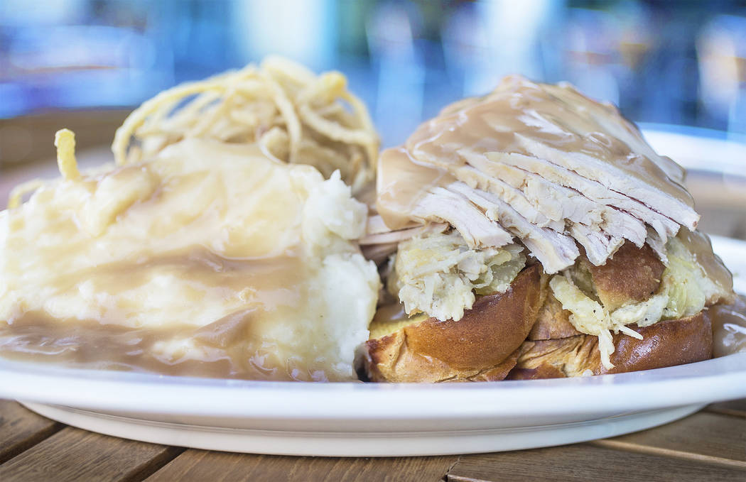 Hot roasted turkey on white bread with mashed potatoes and turkey gravy at Canter's Deli on Friday, February 16, 2018, at Tivoli Village, in Las Vegas. Benjamin Hager Las Vegas Review-Journal @ben ...