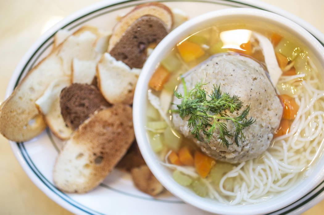 Matzo ball soup at Canter's Deli on Friday, February 16, 2018, at Tivoli Village, in Las Vegas. Benjamin Hager Las Vegas Review-Journal @benjaminhphoto