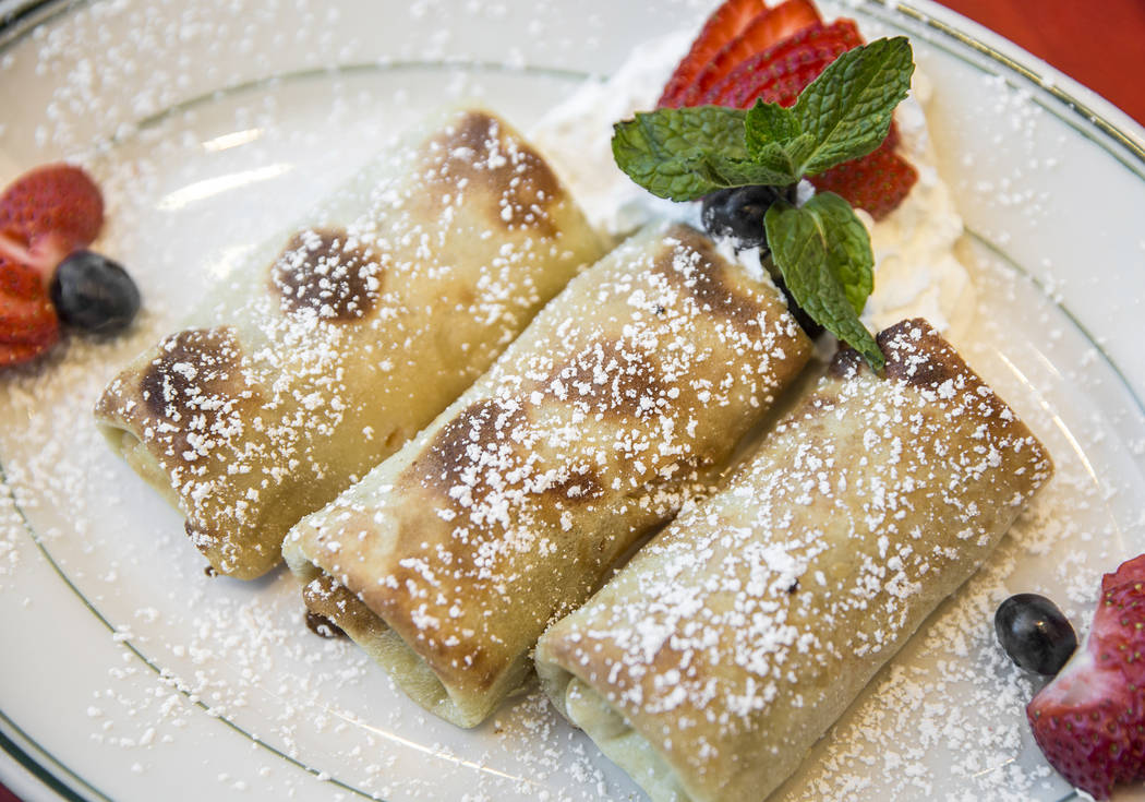 Blintz' filled with farmer cheese and fruit at Canter's Deli on Friday, February 16, 2018, at Tivoli Village, in Las Vegas. Benjamin Hager Las Vegas Review-Journal @benjaminhphoto