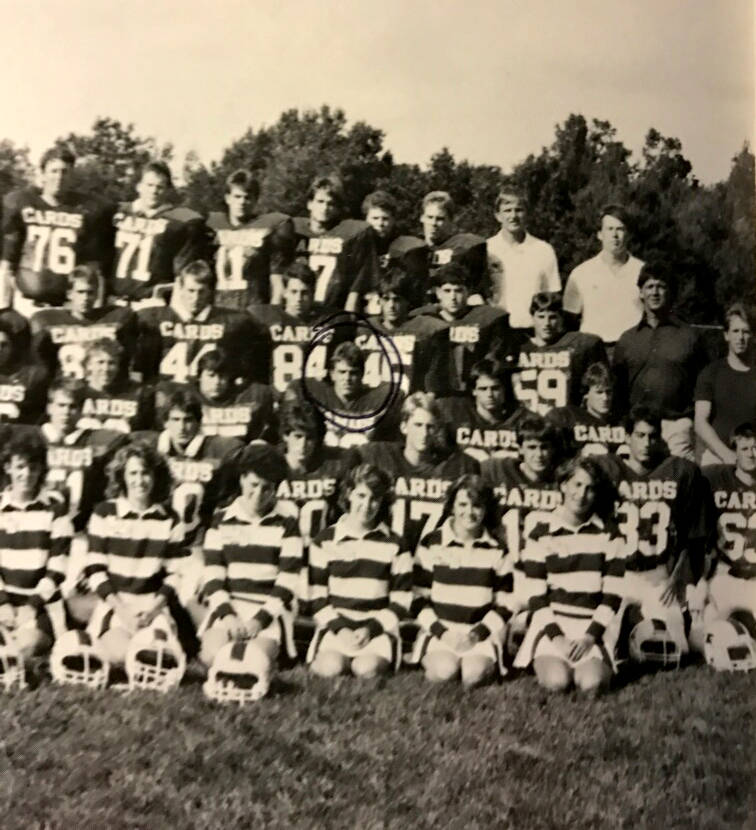 Rob Roy, circled, played linebacker and offensive guard on his high school football team in Middleton, Wisconsin. His data storage company, Switch, is working on a new campus in Atlanta. (1987 Mid ...
