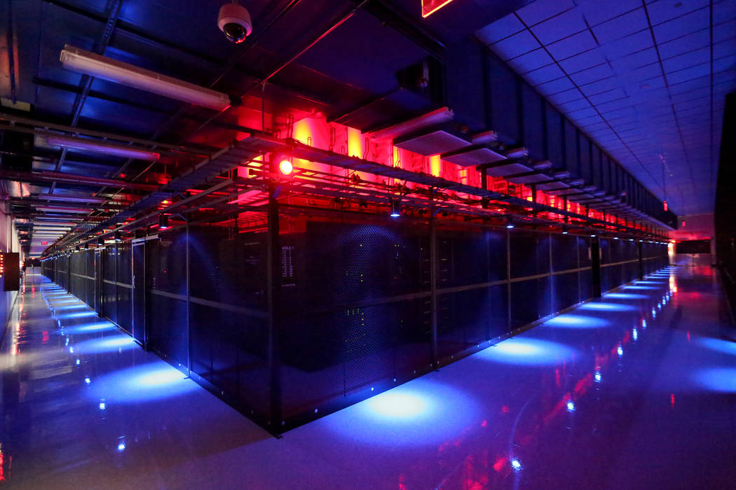 The Switch Data Sector houses rows of multi-cabinet heat containment chimney pods that channel computer generated heat up and out of the data center at the Switch Core Campus in Las Vegas on Monda ...