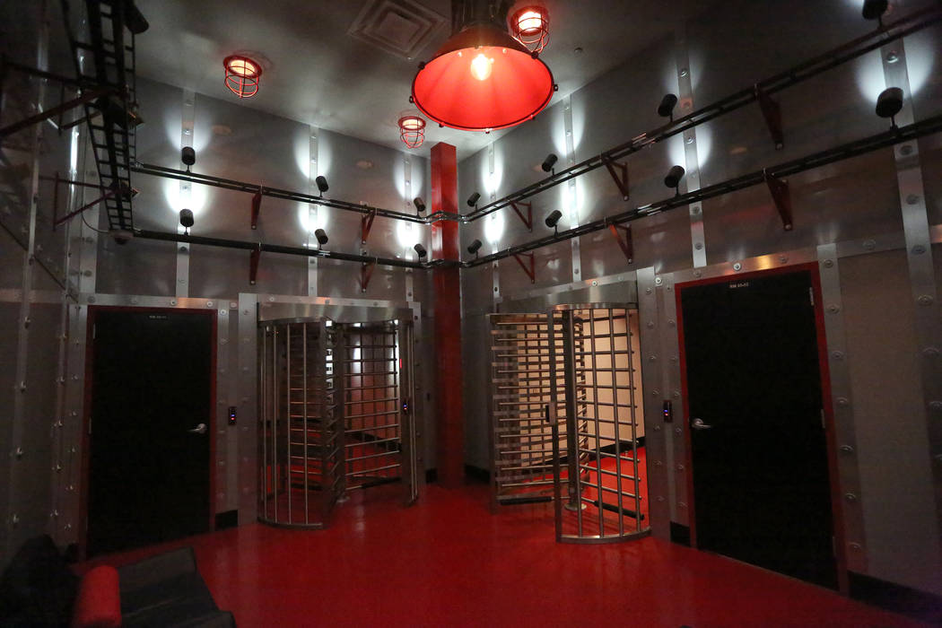 Controlled access turnstiles are one of many security measures utilized at the Switch Core Campus in Las Vegas on Monday, Jan. 15, 2018 Michael Quine Las Vegas Review-Journal @Vegas88s
