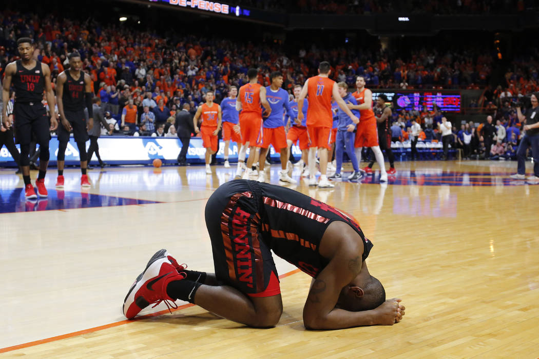 UNLV's Jordan Johnson reacts to their 93-91 overtime loss to Boise State in an NCAA college basketball game in Boise, Idaho, Saturday, Feb. 3, 2017. (AP Photo/Otto Kitsinger)