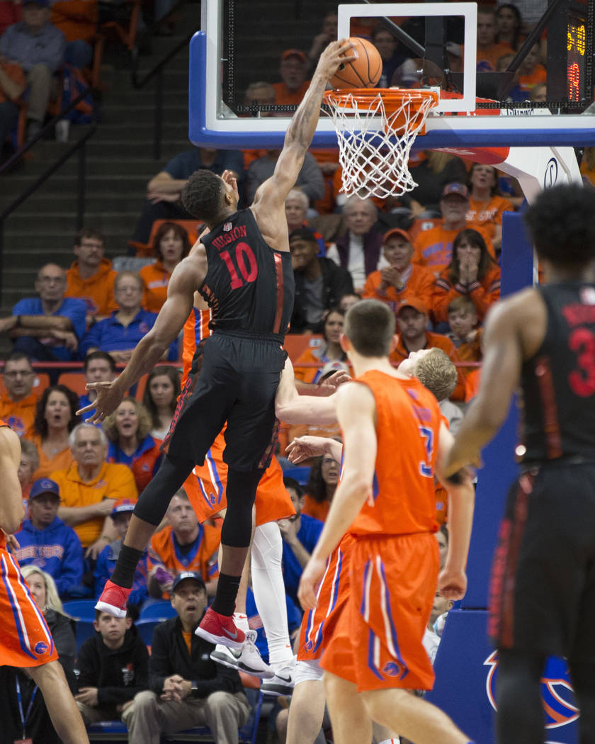 UNLV's Shakur Juiston (10) dunks during the first half of an NCAA college basketball game against Boise State in Boise, Idaho, Saturday, Feb. 3, 2017. Boise State won 93-91 in overtime. (AP Photo/ ...