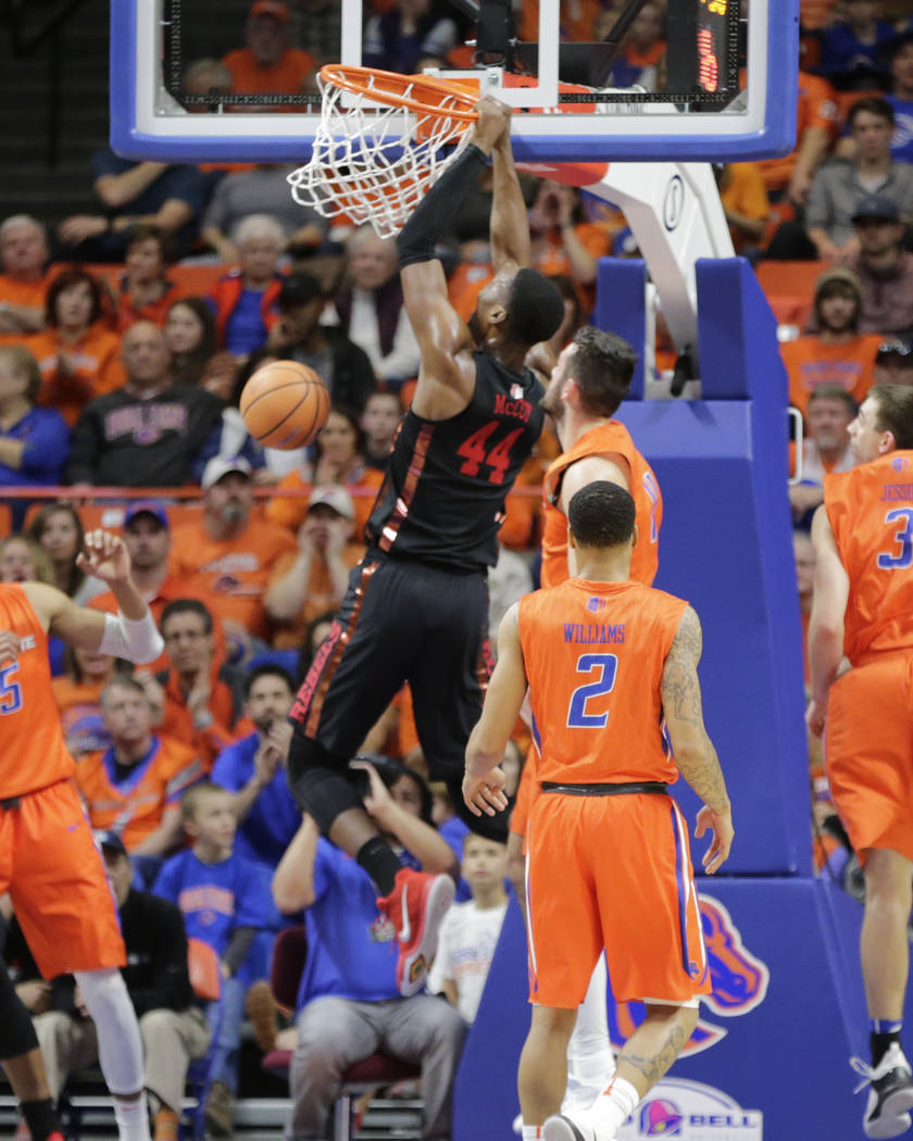 UNLV's Brandon McCoy (44) dunks the ball during the first half of an NCAA college basketball game against Boise State in Boise, Idaho, Saturday, Feb. 3, 2017. Boise State won 93-91 in overtime. (A ...