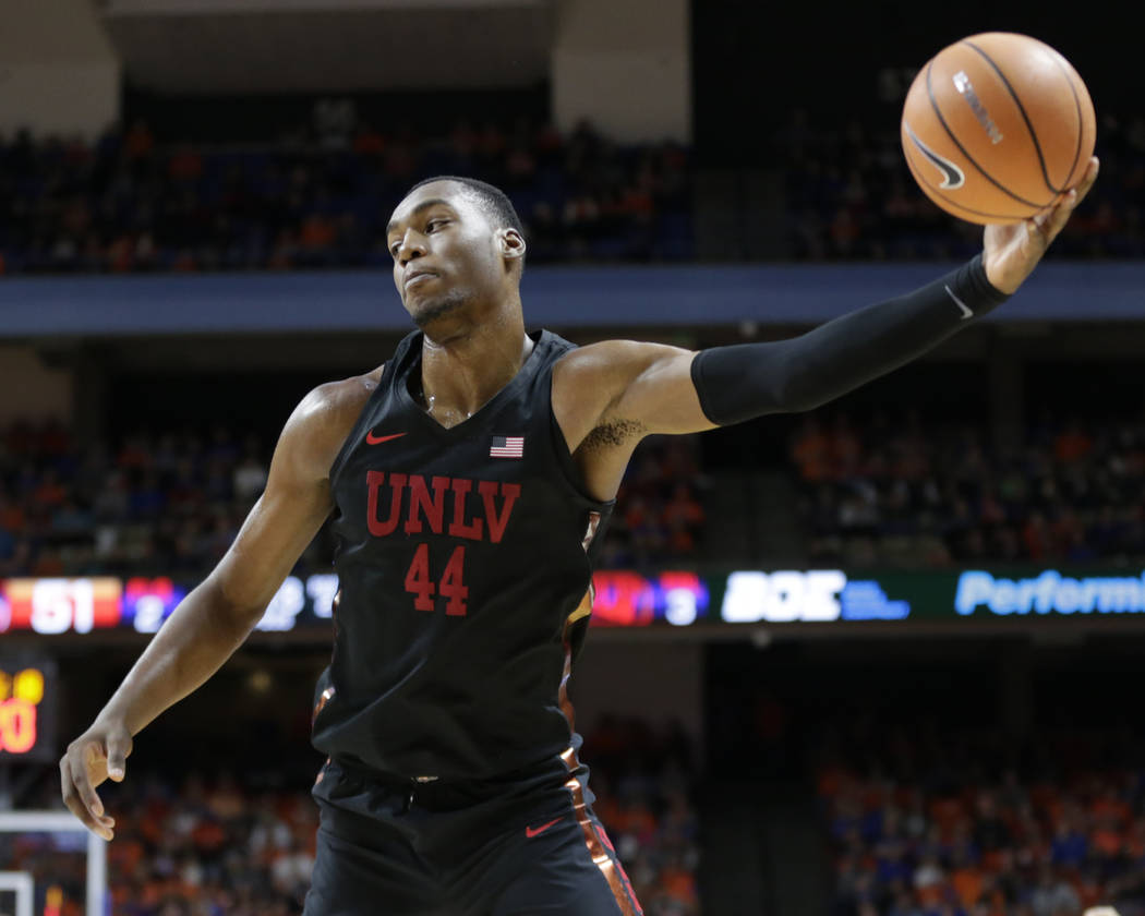 UNLV's Brandon McCoy pulls down an inbound pass during the second half of an NCAA college basketball game against Boise State in Boise, Idaho, Saturday, Feb. 3, 2017. Boise State won 93-91 in over ...
