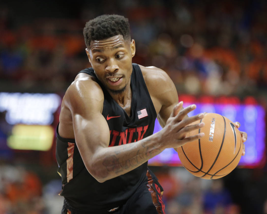 UNLV's Shakur Juiston moves the ball during the first half of an NCAA college basketball game against Boise State in Boise, Idaho, Saturday, Feb. 3, 2017. Boise State won 93-91 in overtime. (AP Ph ...
