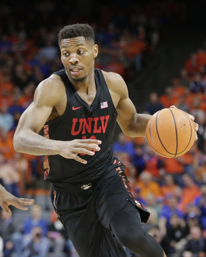 UNLV's Shakur Juiston moves the ball during the second half of an NCAA college basketball game against Boise State in Boise, Idaho, Saturday, Feb. 3, 2017. Boise State won 93-91 in overtime. (AP P ...