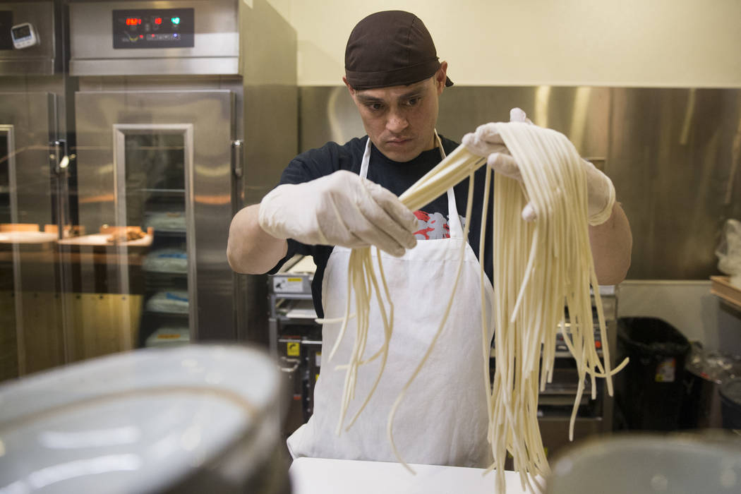 Nasario Marquez prepares noodles at Cafe Sanuki in Las Vegas, Thursday, March 8, 2018. Erik Verduzco Las Vegas Review-Journal @Erik_Verduzco
