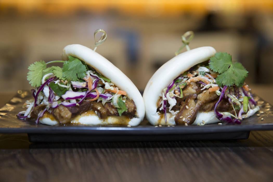 The pork belly bao hamburger served with pork belly and Japanese miso vinaigrette cabbage slaw, at Cafe Sanuki in Las Vegas, Thursday, March 8, 2018. Erik Verduzco Las Vegas Review-Journal @Erik_V ...