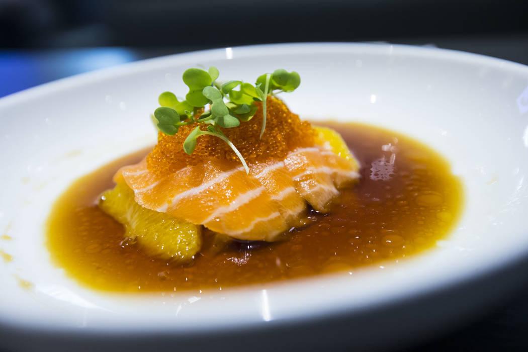 Orange salmon at Sapporo Revolving Sushi in Las Vegas on Wednesday, April 25, 2018. Chase Stevens Las Vegas Review-Journal @csstevensphoto