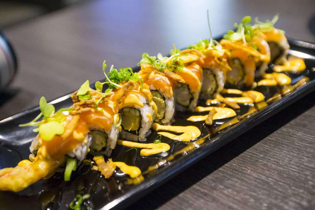 Sapporo garlic salmon roll at Sapporo Revolving Sushi in Las Vegas on Wednesday, April 25, 2018. Chase Stevens Las Vegas Review-Journal @csstevensphoto