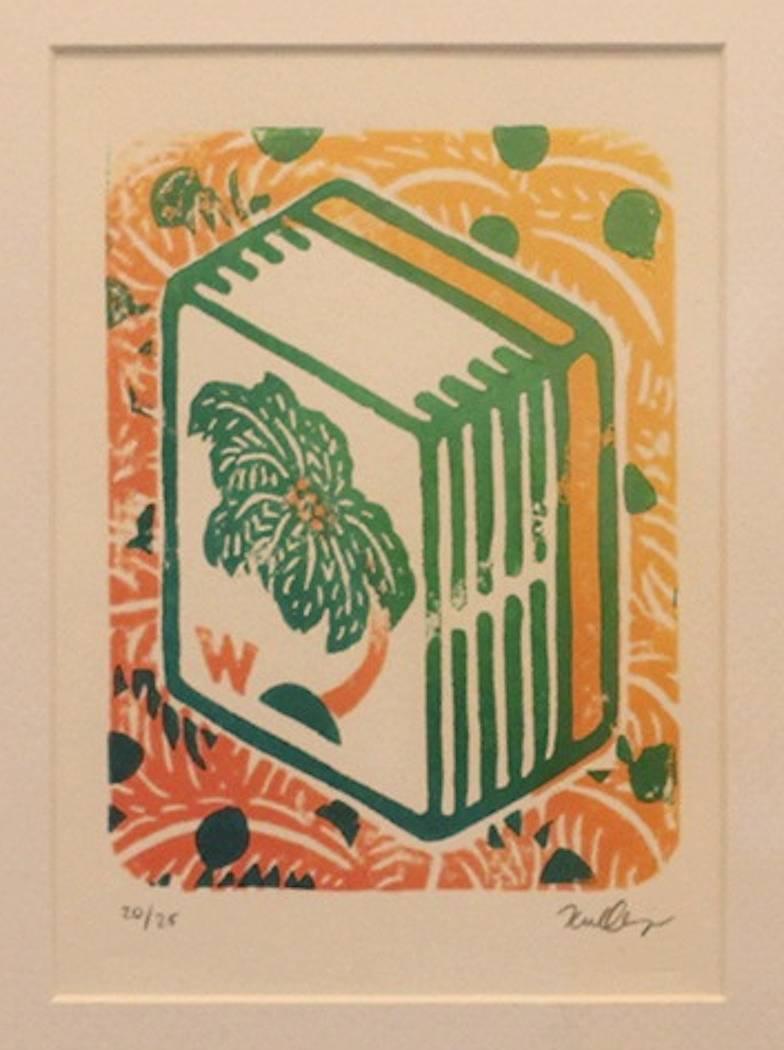"""Karl Orozco, """"West Wind Tile,"""" Linocut"""