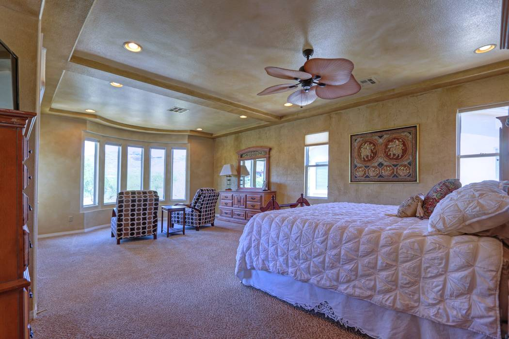 The master bedroom has a bay window. (Lisa Paquette TourFactory)