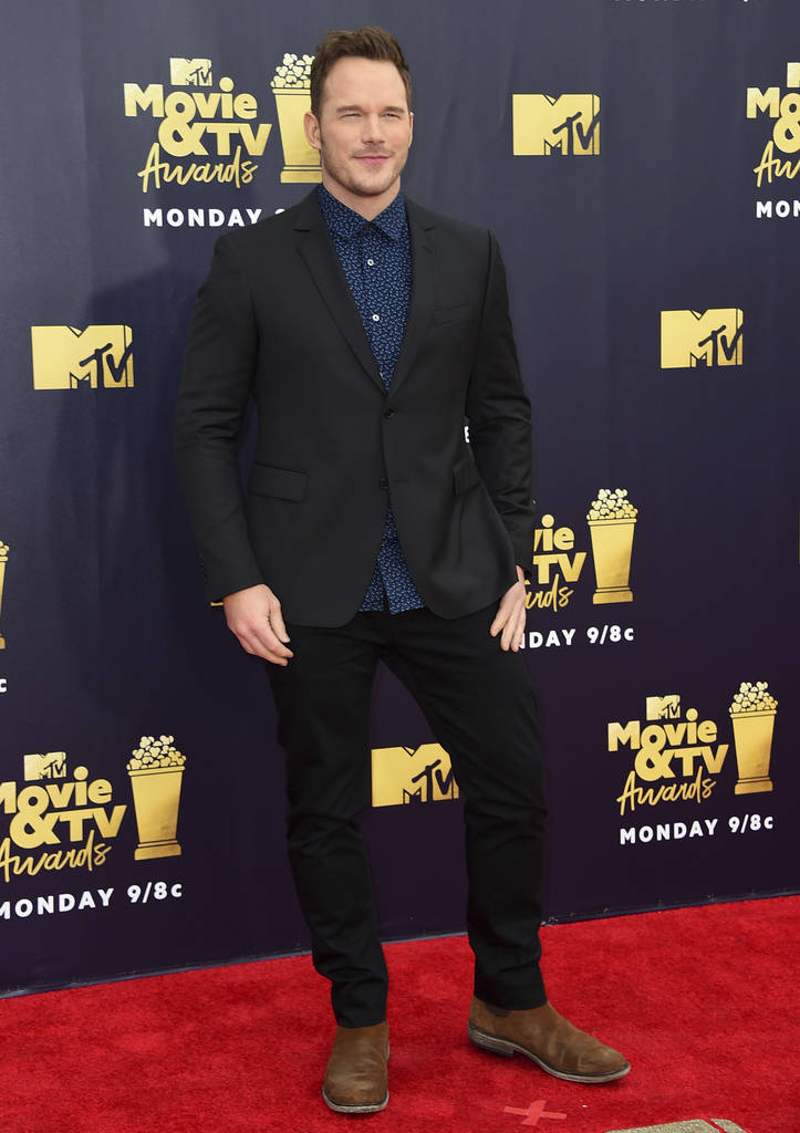 Chris Pratt arrives at the MTV Movie and TV Awards at the Barker Hangar on Saturday, June 16, 2018, in Santa Monica, Calif. (Photo by Jordan Strauss/Invision/AP)