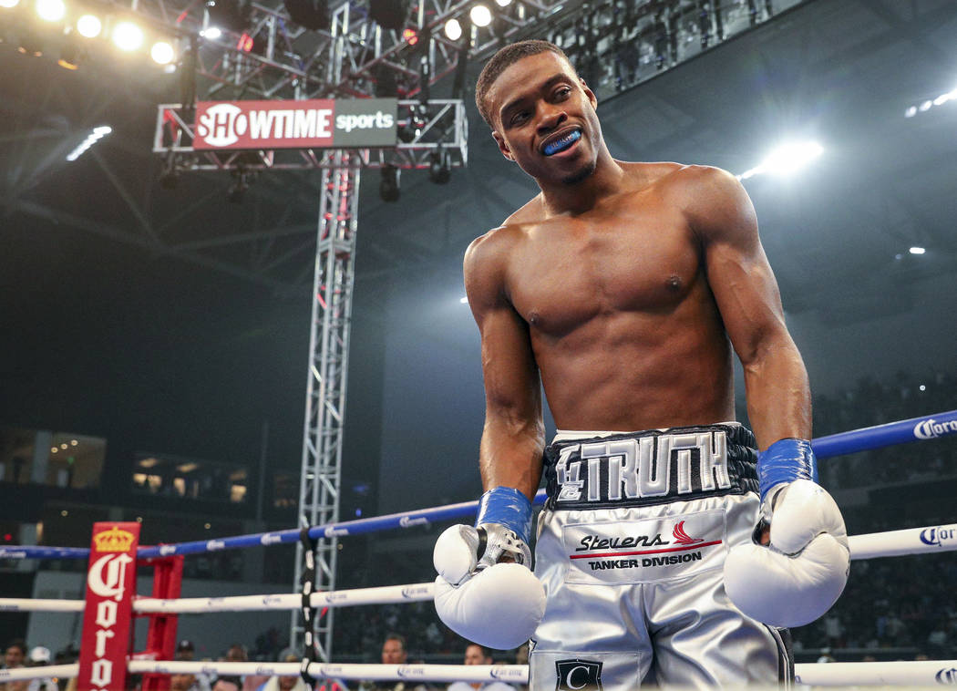 Errol Spence Jr. reacts after knocking out Carlos Ocampo in the first round of an IBF welterweight title fight Saturday, June 16, 2018, in Frisco, Texas. (AP Photo/Richard W. Rodriguez)