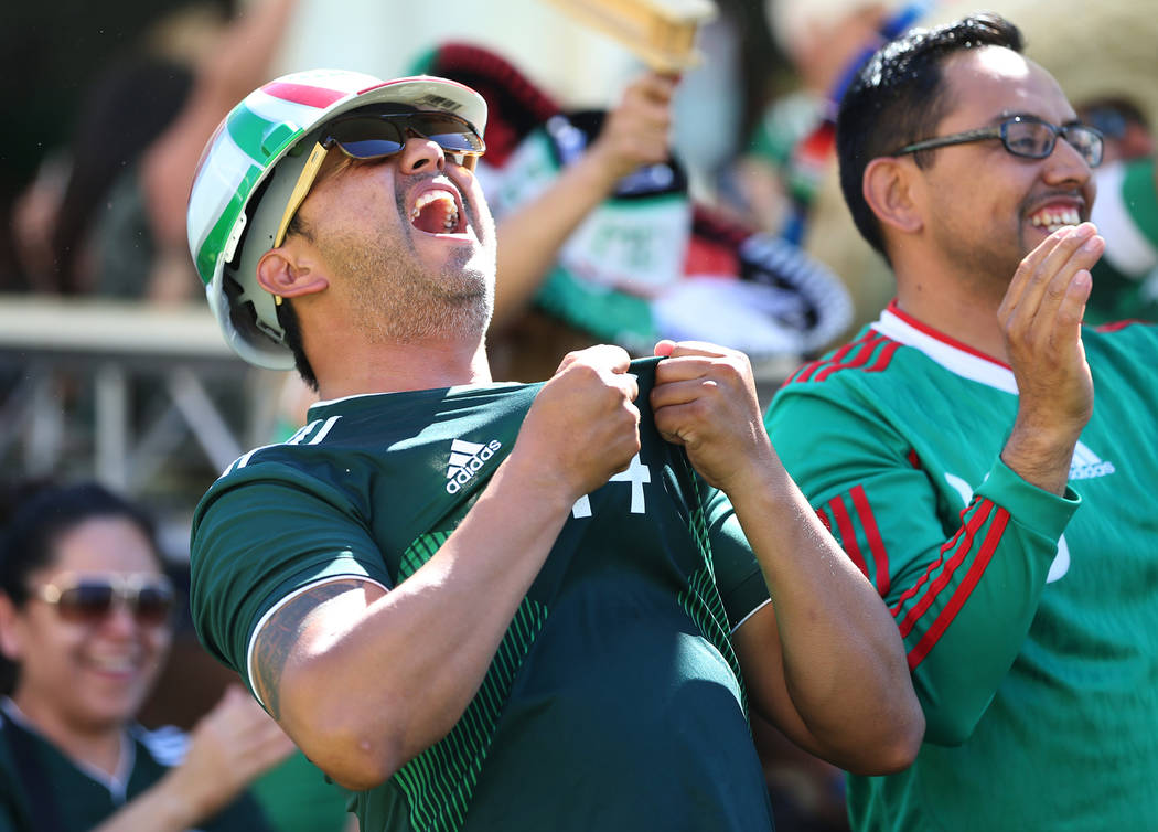 Hector Olguin celebrates a goal by Mexico against South Korea during a watch party of the World Cup soccer match at the Downtown Las Vegas Events Center in Las Vegas, Saturday, June 23, 2018. Erik ...
