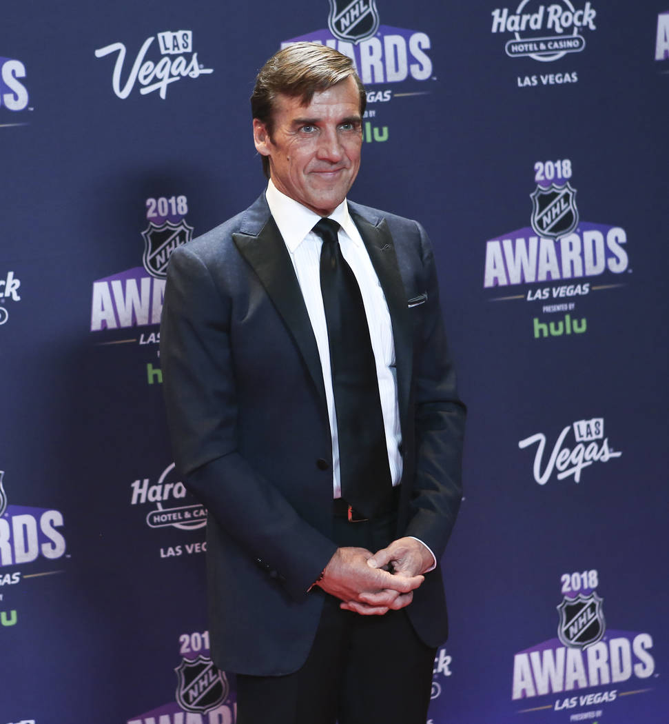 George McPhee, general manager of the Golden Knights, poses on the red carpet ahead of the NHL Awards at the Hard Rock Hotel in Las Vegas on Wednesday, June 20, 2018. Chase Stevens Las Vegas Revie ...