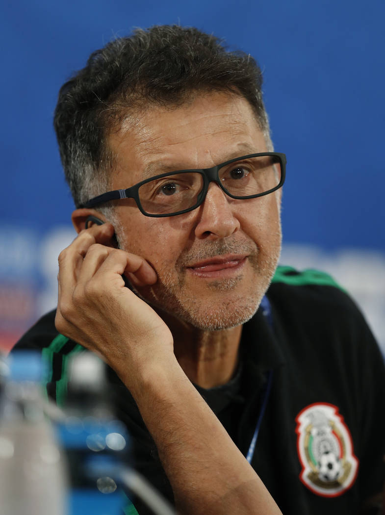 Mexico head coach Juan Carlos Osorio listen during press conference before Mexico's official training on the eve of the group F match between South Korea and Mexico at the 2018 soccer World Cup at ...