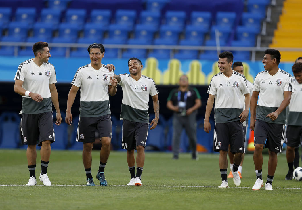 Mexico's players smiles during Mexico's official training on the eve of the group F match between South Korea and Mexico at the 2018 soccer World Cup at the Rostov Arena, in Rostov-on-Don, Russia, ...