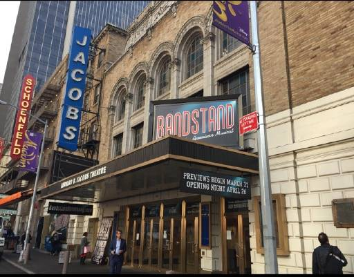"""Signage for the new, Las Vegas-conceived musical """"Bandstand"""" is shown at the Bernard B. Jacobs Theatre in New York City. (Richard Oberacker)"""