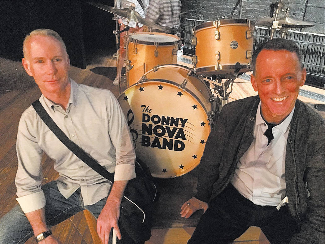 Richard Oberacker, left, and Robert Taylor are shown onstage with the drum kit from the Donny Nova Band at the Bernard B. Jacobs Theatre in New York City on Friday, June 16, 2017. (John Katsilomet ...
