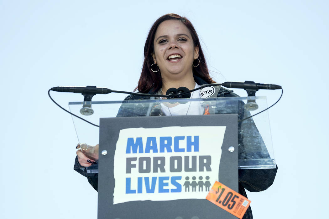 """FILE - In this March 24, 2018, file photo, Samantha Fuentes, a survivor of the mass shooting at Marjory Stoneman Douglas High School in Parkland, Fla., speaks during the """"March for Our Lives& ..."""