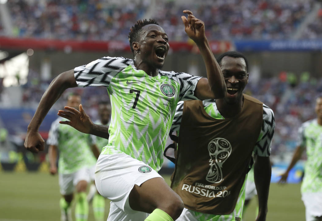 Nigeria's Ahmed Musa celebrates his team's second goal during the group D match between Nigeria and Iceland at the 2018 soccer World Cup in the Volgograd Arena in Volgograd, Russia, Friday, June 2 ...
