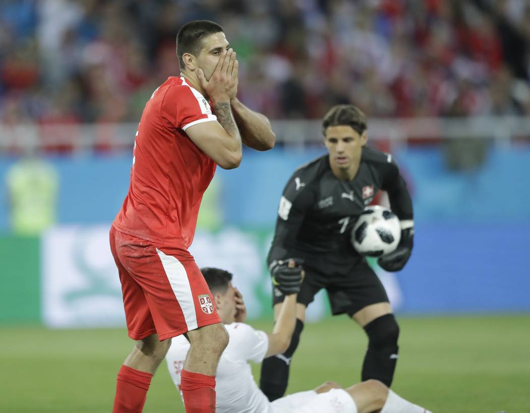 Serbia's Aleksandar Mitrovic reacts during the group E match between Switzerland and Serbia at the 2018 soccer World Cup in the Kaliningrad Stadium in Kaliningrad, Russia, Friday, June 22, 2018. ( ...