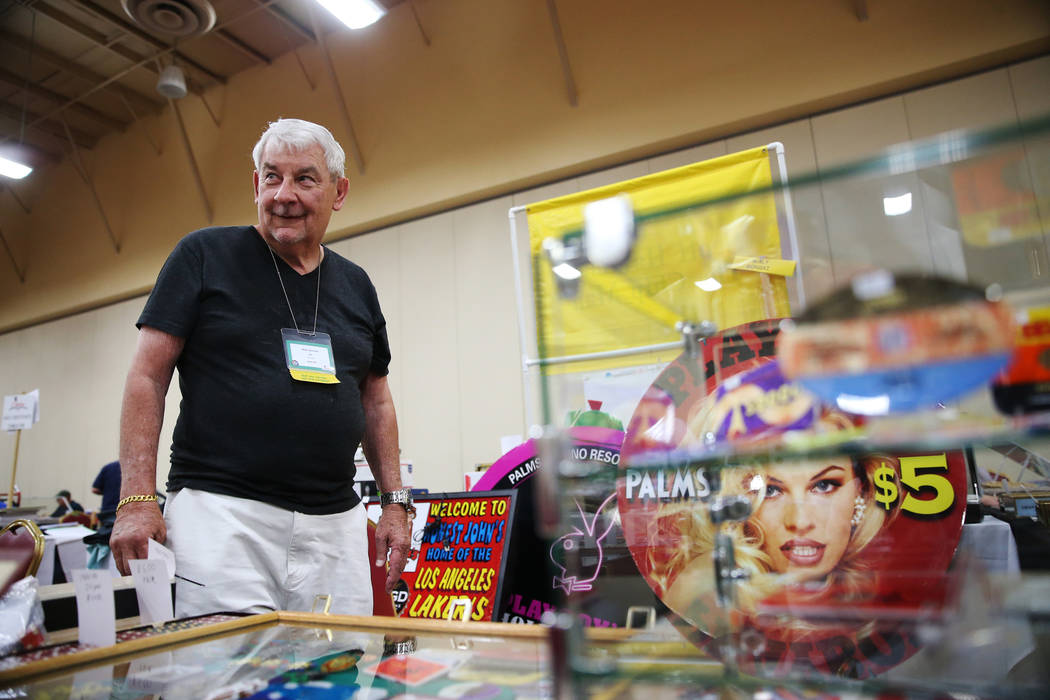 Walt Gonski of North Las Vegas with his casino memorabilia for sale during the Casino Chip & Gaming Token Collectors Club annual convention at the South Point casino-hotel in Las Vegas, Friday ...