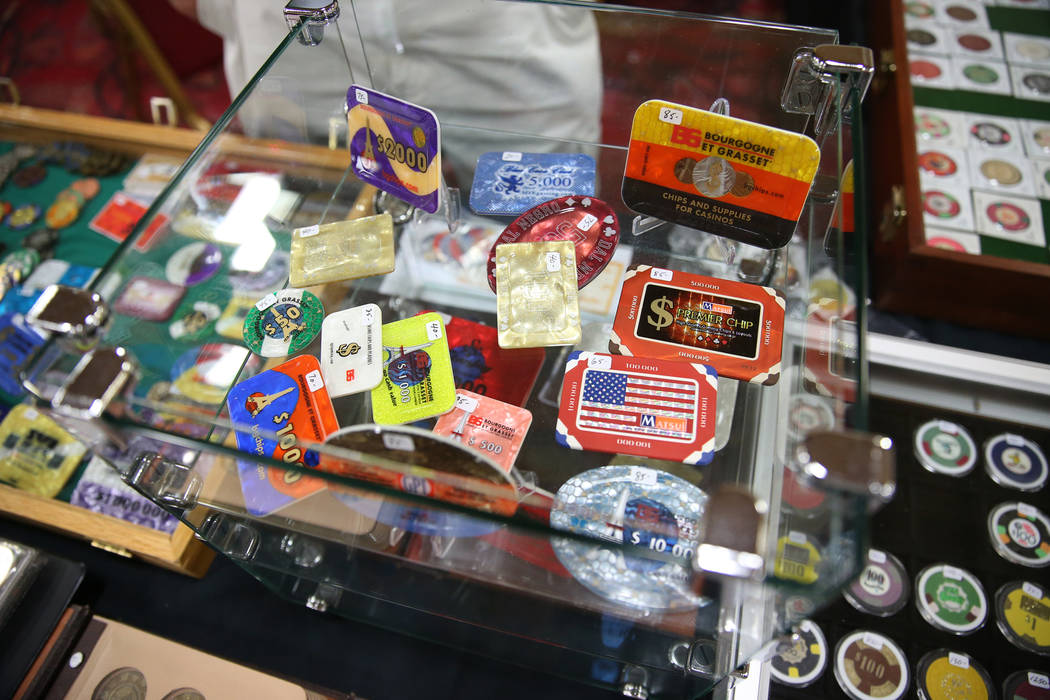 Casino memorabilia owned by Walt Gonski of North Las Vegas for sale during the Casino Chip & Gaming Token Collectors Club annual convention at the South Point casino-hotel in Las Vegas, Friday ...