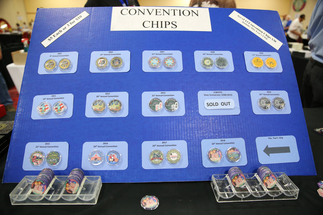 Convention chips for sale during the Casino Chip & Gaming Token Collectors Club annual convention at the South Point casino-hotel in Las Vegas, Friday, June 22, 2018. Erik Verduzco Las Vegas R ...