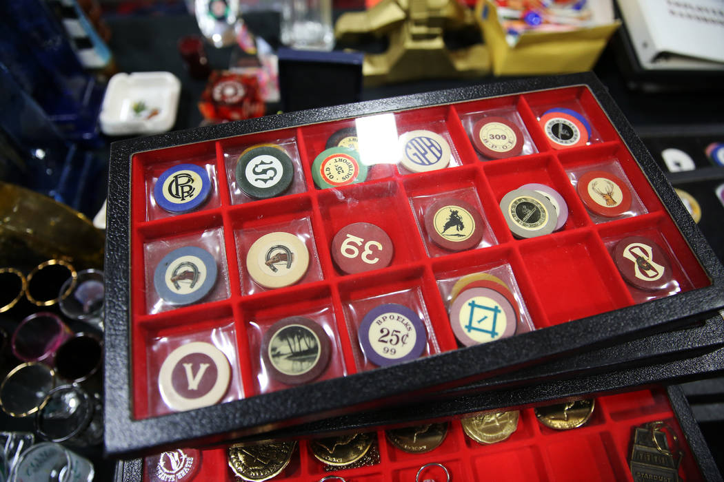 Casino memorabilia owned by Jerry Birl of Delaware for sale during the Casino Chip & Gaming Token Collectors Club annual convention at the South Point casino-hotel in Las Vegas, Friday, June 2 ...