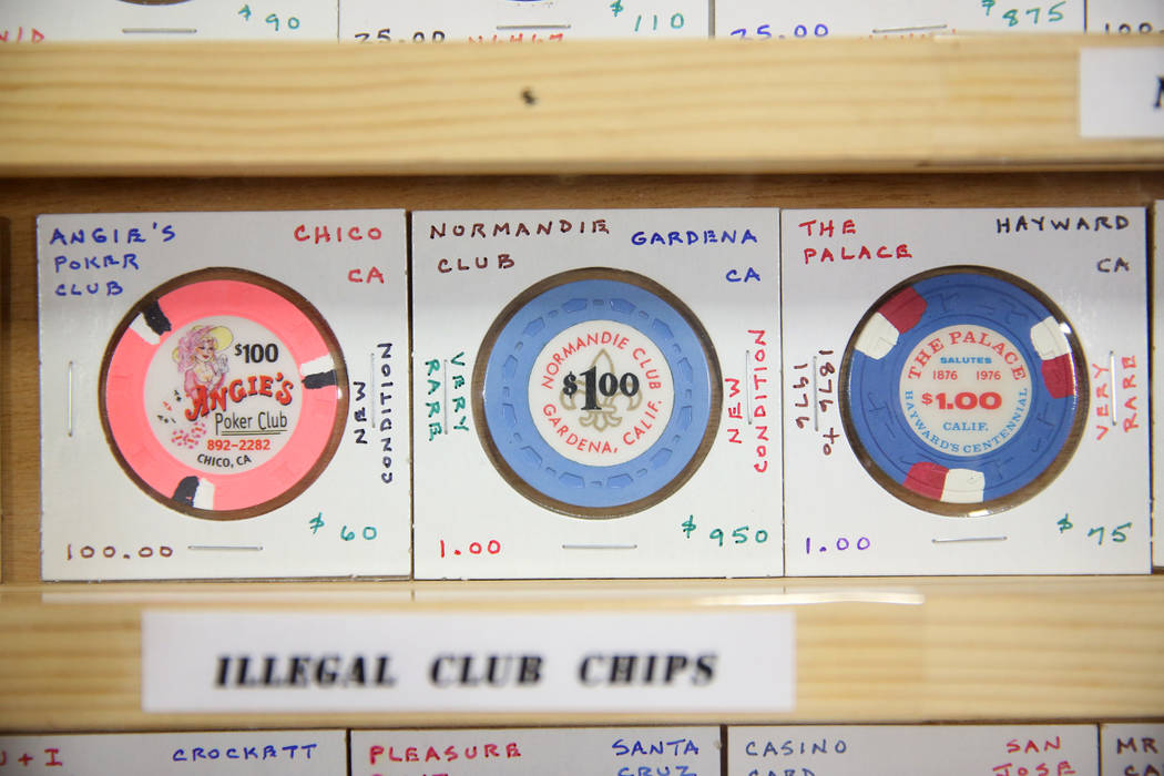 A chip collection that includes one valued at $950 owned by John Johannes of Temecula, Calif., for sale during the Casino Chip & Gaming Token Collectors Club annual convention at the South Poi ...