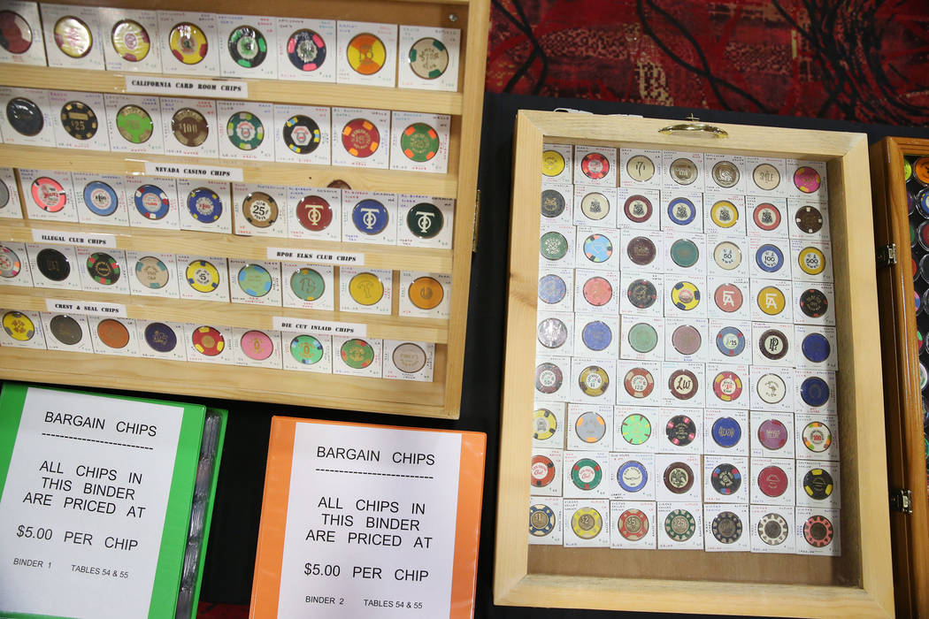 A chip collection owned by John Johannes of Temecula, Calif., for sale during the Casino Chip & Gaming Token Collectors Club annual convention at the South Point casino-hotel in Las Vegas, Fri ...