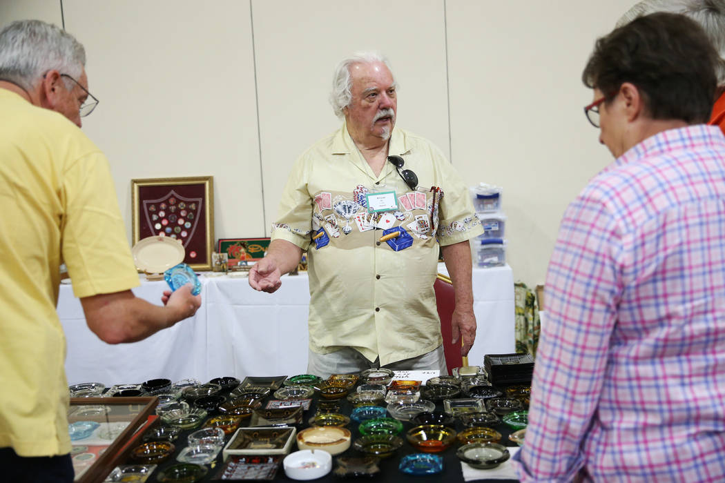 Bill Judge shows his collection during the Casino Chip & Gaming Token Collectors Club annual convention at the South Point casino-hotel in Las Vegas, Friday, June 22, 2018. Erik Verduzco Las V ...