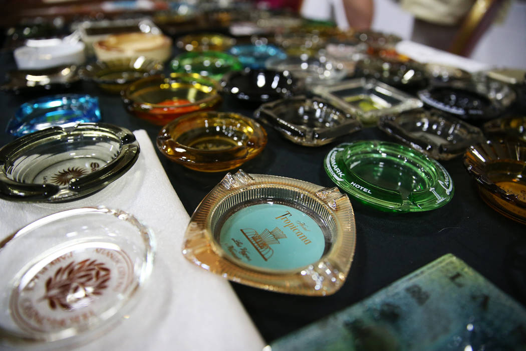 A collection of casino memorabilia owned by Bill Judge for sale during the Casino Chip & Gaming Token Collectors Club annual convention at the South Point casino-hotel in Las Vegas, Friday, Ju ...